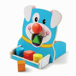 Melissa & Doug Baby Toddler Wooden Toy Spin & Feed Dog Shape Sorter Gift 40121