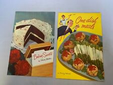 BAKING SECRETS ONE DISH MEALS Lot of 2 by Mary Blake Cook Book Carnation 1955 57