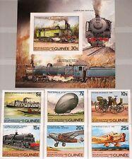 Guinea 1984 981-86 bloque 89 B 883-89 Transportation car Train Airplane Zeppelin