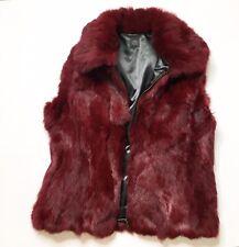 Saks Fifth Avenue Burgundy Rabbit Fur Vest Medium Large 100% Authentic