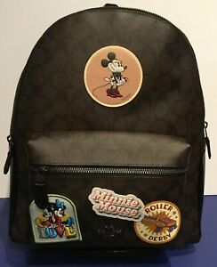 NWT Disney Coach Minnie Mouse Signature Patches Charlie Backpack Bag F29355