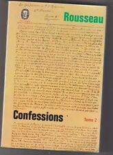Les Confessions Tome 2 - J.J.Rousseau. 1977. avec commentaires .