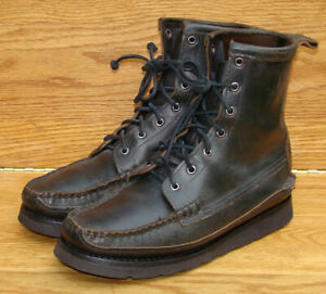 YUKETEN Maine Guide Green Leather Hiking Trail Boots Men's 9 E