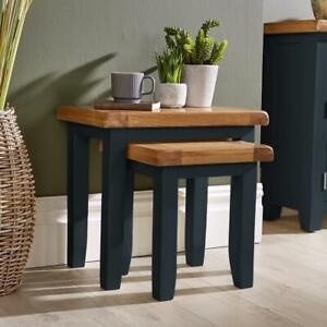 Modern Blue Painted Solid Wood Nest of 2 Side End Coffee Tables Living Room Set