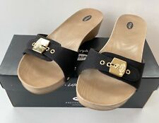 Dr. Scholl's Womens Black Classic Snake Embossed Buckle Sandals NIB Size 8M