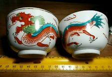 Lot of TWO CHINESE TEA CUPS HAND PAINTED DRAGONS WITH MAKER MARKS