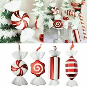 Christmas DIY Red & White Candy Hanging Pendant Ornaments Xmas Tree Decors 30cm