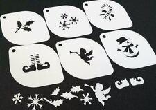 Set of 6pcs Xmas Stencils Angel Elf Feet Snowman Candy Cane Snowflake Face Paint