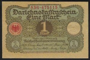 1920 1 Mark Germany Old Vintage Paper Money Banknote Currency Antique Note UNC