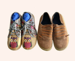 2x Pairs Of Ladies Shoes Size 6 Good Condition Med Wide Moccasin Style Comfy