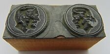 Printing Letterpress Printers Block Woman Man Rounds Looking At Each Other