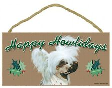 "Happy Howlidays Chinese Crested Christmas Cute Holiday wood Dog Sign 5""x10"" 977"