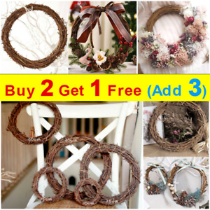 1x Round Natural Vine Ring Rattan for Door Wall Decor Xmas Wreaths DIY Crafts