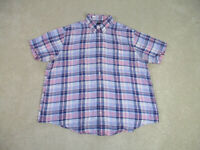 Brooks Brothers Button Up Shirt Adult Extra Large Purple Pink Plaid Casual Men *