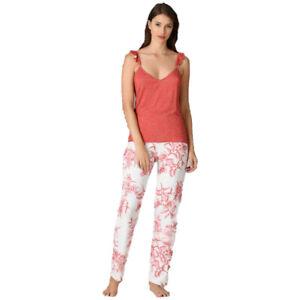 Damen Schlafanzug Pyjama Nachtwäsche Zweiteiliger Lange Hose Sommer-Set 66665
