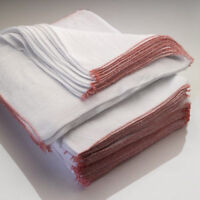 15 x Large Dish Cloths, Heavy Duty Professional White Dish Cloths Red Border