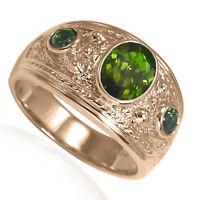 Men's 14k Solid Rose Gold Green Tourmaline Three-Stones Ring #R2009