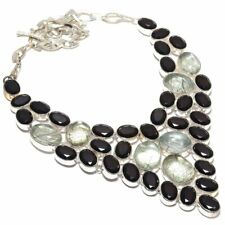 """Black Rutile, Spinel Gemstone Handmade 925 Sterling Silver Jewelry Necklace 18"""""""