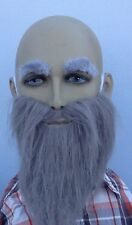 FANCY DRESS GREY BEARD & GREY EYEBROW SET. OLD MAN, WIZARD, GHOST, DWARF, GNOME