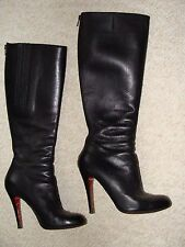 CHRISTIAN  LOUBOUTIN BLACK LEATHER KNEE HEIGHT WOMEN BOOTS SIZE 37-1/2