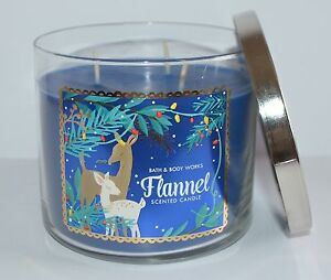 BATH BODY WORKS FLANNEL SCENTED CANDLE 3 WICK 14.5 OZ LARGE BLUE WINTER MAHOGANY