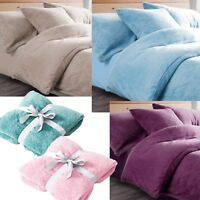 Teddy Duvet Cover Throw Fitted sheet Single Double King Super Fleece bedding