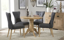 Kingston Round Oak Dining Room Table and 4 Bewley Fabric Chairs Set - Slate