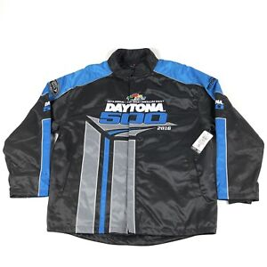 Nascar Daytona 500 2016 Fanatics Black Blue Quilt Lined Mens XL Pit Crew Jacket