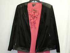 NWT Jones New York 18W Black Jacket Faux Suede and Leather NEW 2X Cat Shelter