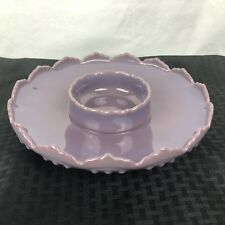 Mosser Glass Chip & Dip Platter Plate Eggplant Purple Hobnail Gigi Fenton Mould