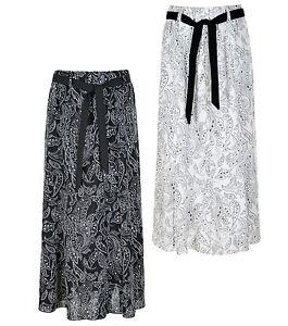 Ladies Womens 36 Inch Linen Skirt Floral Printed Fabric Waist Tie Belt KK48