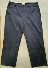 SPORTSCRAFT SIGNATURE COTTON/WOOL Blend Herringbone Wide Leg Pants Blue, Sz 16