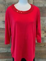 QUACKER FACTORY Women's 1X Plus Bright-Red Sequins 3/4-Sleeve Tee-Shirt Top NWOT