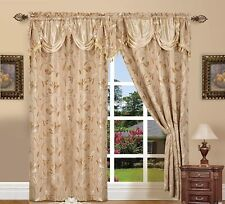 "Luxury Jacquard Curtain Panel Set with Attached Valance 55"" X 84 inch (Set of 2)"