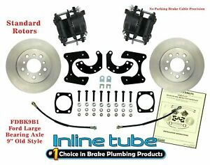"""FORD 9"""" Rear Axle End Disc Brake Conversion Kit Large Bearing St ROTOR noPARK"""