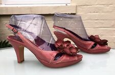 Jigsaw Heeled Sandals - Pink With Large Flower - Eu 38 / UK 5 - Worn Once rrp£98