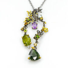 Fine Art Natural Tourmaline 925 Sterling Silver Necklace Length 20.25/N02669