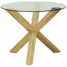Solid Oak & Clear Glass Round Dining Table