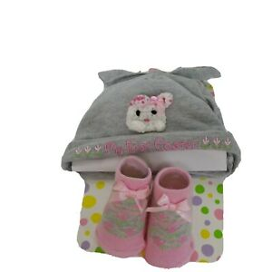 Little Me Infant Girl My First Easter Sz 0-12 M Gray & Pink Knit Hat & Bootie
