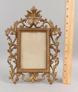 Antique Gold Cast Iron Rococo Picture Frame Mirror ...NO RESERVE!