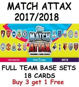 Match Attax 2017/18 Full Base Team Sets of 18 Cards 17/18 2017/2018