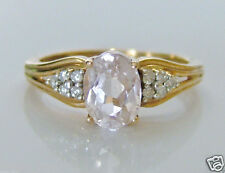 Beautiful 9ct Gold Kunzite & 0.09ct Diamond Ring Size O