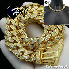 """Miami Cuban Curb Chain Choker Necklace*Gn4 18""""Men 14K Gold Finish 12Mm Iced Gold"""