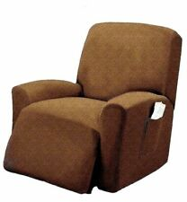 Pique Stretch Form Fit Furniture Chair Recliner Lazy Boy Cover Slipcover - Brown
