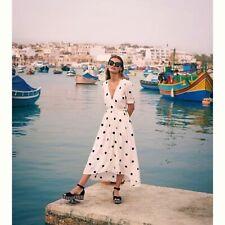 Anthropologie Breanna Wrap Polka Dot Dress By Maeve Size 6 White/Black