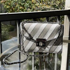 Michael Kors Women Shoulder Handbag Bag Crossbody Messenger Purse Grey White