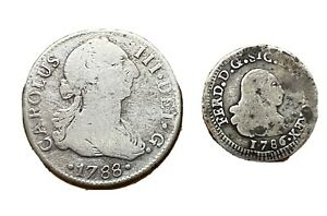 Spanish Silver Coins 2 Reales 1788 Smaller coin 1786 See The Pics