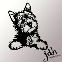 Yorkie Puppy Vinyl Decal Car Sticker Heart Pet Dog Collar Animal Cute Clothes