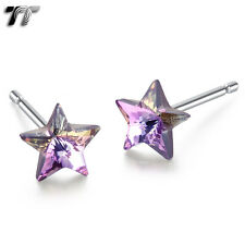 TT 925 Sterling Silver 5mm Star Crystal Earrings Pair 925 Backs 925E02