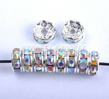 100Pcs Clear AB Czech Crystal Rhinestone Plated Spacer Beads 8MM